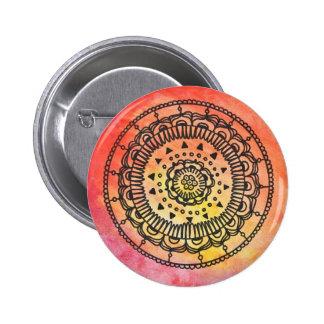 Warm Mandala Button By Megaflora