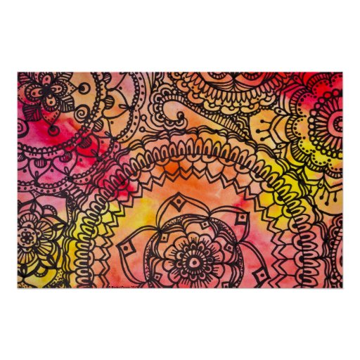 Warm Mandala Collage Poster By Megaflora