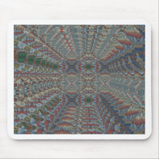 Warm Multi colored Geometric Fractal Pattern Mouse Pad