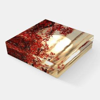 Warm night under the red tree - Digital Art  Paperweight