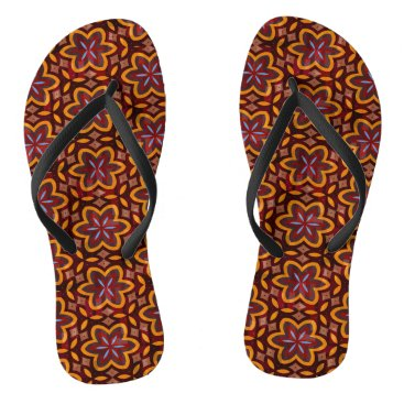 Beach Themed Warm Orange Floral Pattern Flip Flops