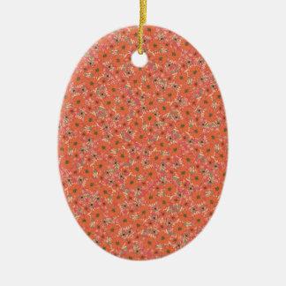 Warm Orange Flower Confetti Ceramic Ornament