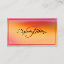Warm Orange & Pink Watercolor With Monogram Letter Business Card
