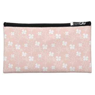 Warm Peach Floral Pattern Cosmetic Bag