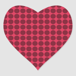 Warm polka dots, amaranth and claret heart sticker
