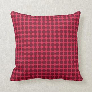 Warm polka dots, amaranth and claret pillow