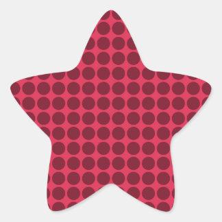 Warm polka dots, amaranth and claret star sticker