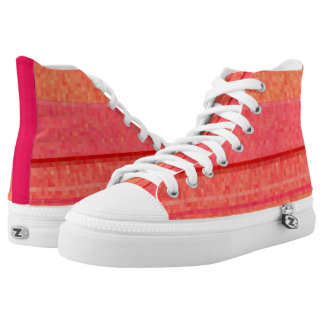 Warm red and orange color blocks printed shoes