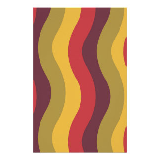 Warm Red Mix Wavy Stripes Stationery