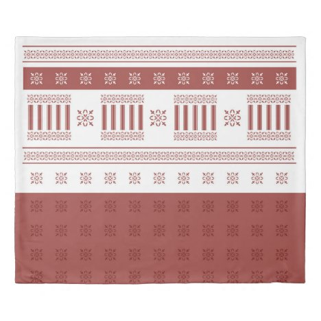 Warm Red Ochre Moroccan French damask Duvet Cover