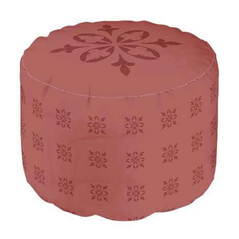 Warm Red Ochre Moroccan French Damask Pouf