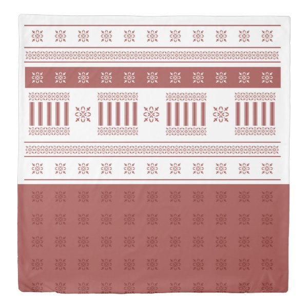 Warm Red Ochre Moroccan French damask Queen Duvet Cover