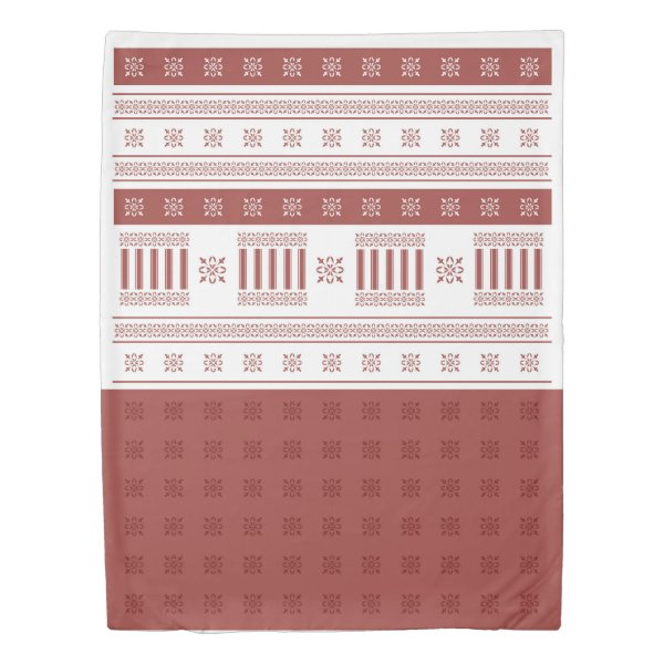 Warm Red Ochre Moroccan French damask Twin Duvet Cover