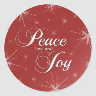 Warm Red Peace, Love and Joy Classic Round Sticker