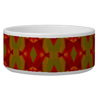 Warm Retro Pattern in Olive Gold Red Bowl