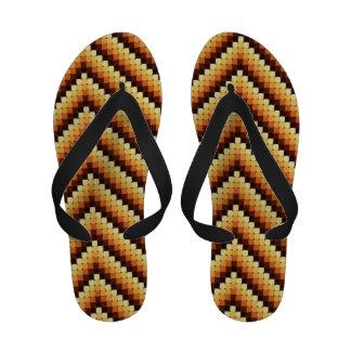 Warm Retro Zigzag Flip Flops