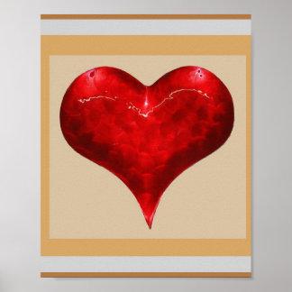 Warm Romantic HEART : Jewel like Red  3D Shape Print