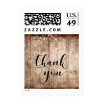 Warm Rustic Wood, White Light Strings Thank You 5 Postage