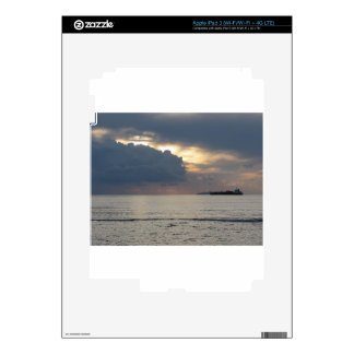 Warm sea sunset with cargo ship at the horizon decal for iPad 3