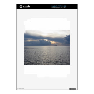 Warm sea sunset with cargo ship at the horizon iPad 2 decals
