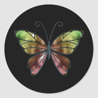Warm Shades Rainbow Wings Butterfly Classic Round Sticker