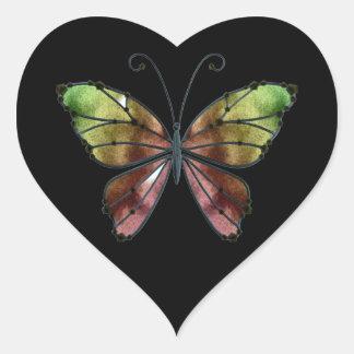 Warm Shades Rainbow Wings Butterfly Heart Sticker