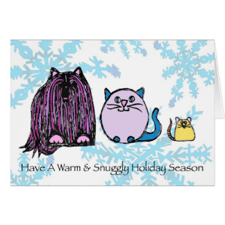 warm & snuggly holiday season - dog cat mouse card