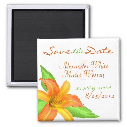 Warm Summer Flower Wedding Save the Date Magnet