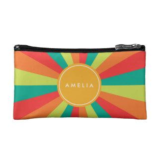 Warm Summer Personalized Monogram Name Color Wheel Makeup Bag