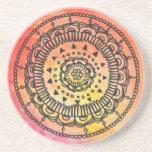 Warm Sun Mandala Coaster. Drink Coaster