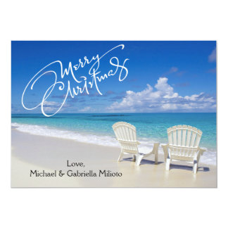 Warm Sunny Beach With Chairs Christmas Card