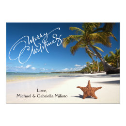 Warm Sunny Beach With Starfish Christmas Card