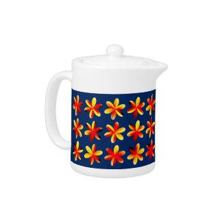 Warm Sunset Flowers Teapot