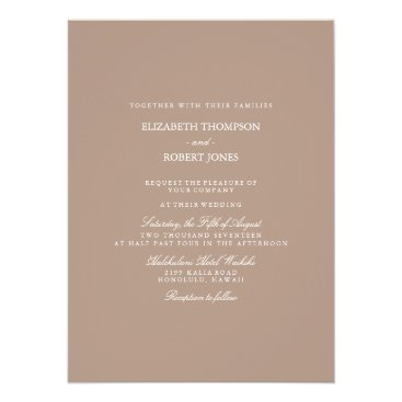 Beach Themed Warm Taupe Beige with White Wedding Detail Card