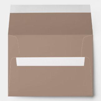 Warm Taupe Beige with White Wedding Detail Envelope