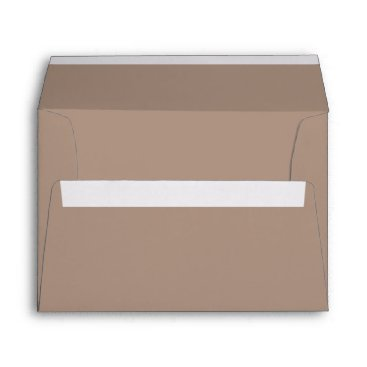 Beach Themed Warm Taupe Beige with White Wedding Detail Envelope