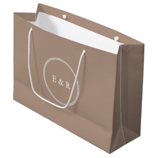 Warm Taupe Beige with White Wedding Detail Large Gift Bag