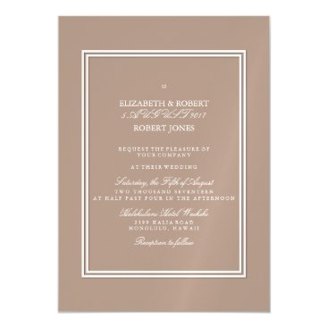 Beach Themed Warm Taupe Beige with White Wedding Detail Magnetic Card