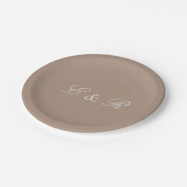 Beach Themed Warm Taupe Beige with White Wedding Detail Paper Plate