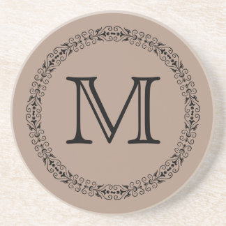 Warm Taupe Light Brown Tan Solid Color Monogram Drink Coaster