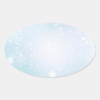 Warm Teal and Purple  Winter Wonderland Snowflakes Oval Sticker