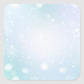 Warm Teal and Purple  Winter Wonderland Snowflakes Square Sticker