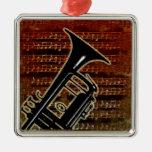 Warm Tones Trumpet Square Metal Christmas Ornament