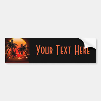 Warm Topical Sunset and Palm Trees bumper Sticker