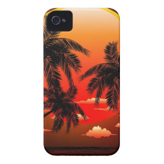 Warm Topical Sunset and Palm Trees iPhone 4 Covers