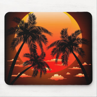 Warm Topical Sunset and Palm Trees Mouse Pad