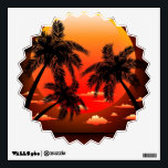 """Warm Topical Sunset and Palm Trees Wall decal<br><div class=""""desc"""">Peaceful Exotic Sunset with Palm Trees Shapes</div>"""