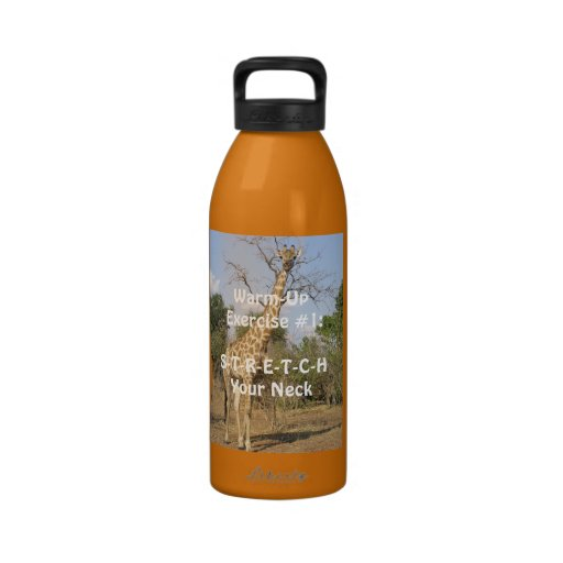 """""""Warm-Up Exercise""""  photo-giraffe stretching neck Reusable Water Bottles"""