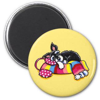 Warm Up Little Schnauzer 2 Inch Round Magnet
