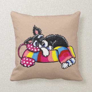 Warm Up Little Schnauzer Neutral Pillow
